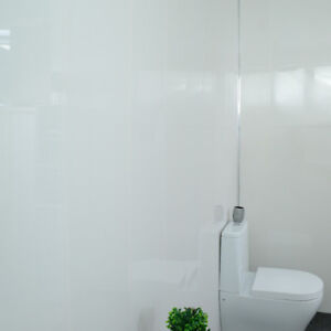 Details About Glossy White Gloss Bathroom Cladding Pvc Shower Ceiling Waterproof Wall Panels