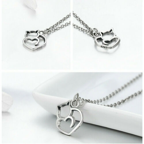BAMOER Women Necklace Real S925 Sterling Silver Hollow Cute cat Pendant Jewelry