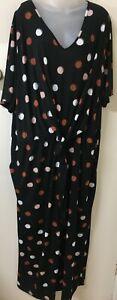 Bright Ts Taking Shape 'asilah Spot Jumpsuit' Tie Front, Short Slv -18- Nwt Rrp $179.95