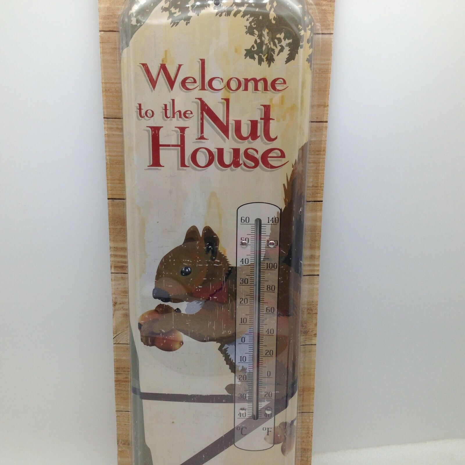 Weslcome to the Nut House Indoor Outdoor Thermometer Squirrel Metal 17.5 in Tall