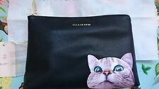 BNWT Paul and Joe Sister Elvire CLUTCH, borsetta, Zip Bag, Cat, nero PU