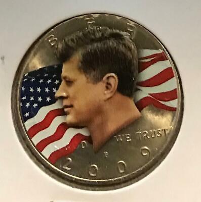 PRESIDENT DONALD J TRUMP 45TH US PRESIDENT COLORIZED /& 24K GP JFK HALF DOLLAR