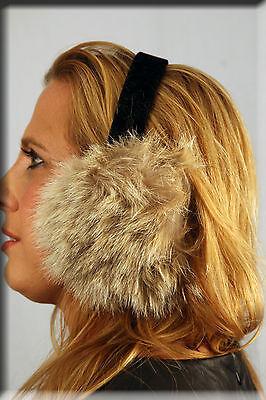 New Black Fox Fur Ear Muffs Efurs4less