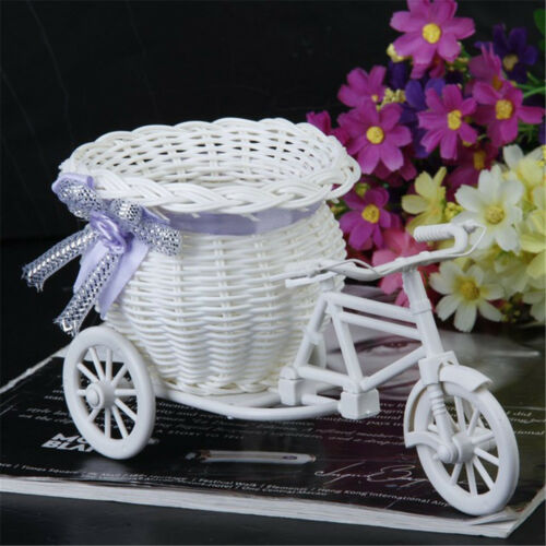 Excellent White Tricycle Bike Flower Basket Container For Flower Plant Decor/_DM