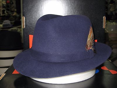 379d7414ac4 Dobbs Broadstreet Navy Suede Finish Fur Felt Fedora Hat 7 3 8 for sale  online