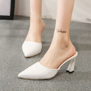 Womens-High-Heel-Shoes-Pointed-toe-PU-Leather-Slip-on-Loafers-Fashion-Slippers