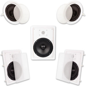 Acoustic-Audio-HT85-In-Wall-amp-In-Ceiling-8-034-Home-Theater-Surround-5-Speaker-Set