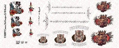 Waterslide Decals 1//6 Scale Custom Conor McGregor Tattoos for 12 Inch Figure