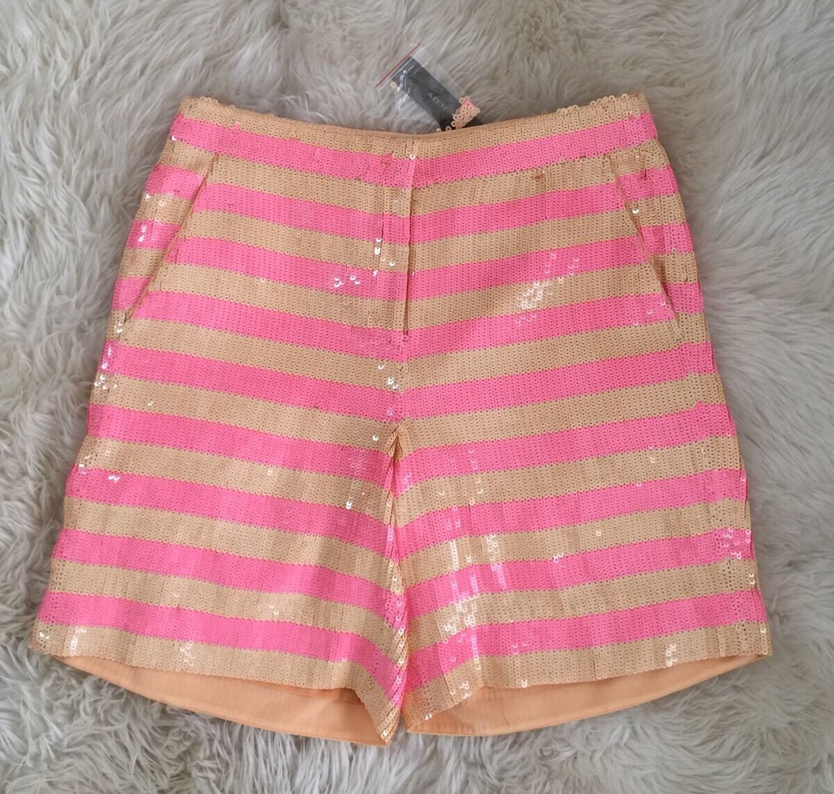 New JCREW Collection shorts in sequin stripe F2924 Size 6 Pink orange RARE