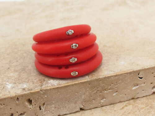 DUEPUNTI Designer Diamond Silicone Stacking Ring Medium Ruby Red