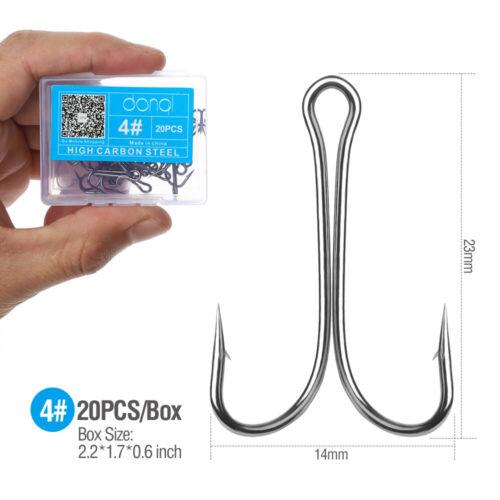 20Pcs High Carbon Steel Fishing Hook Sharp Jig Saltwater Freshwater Double Hooks