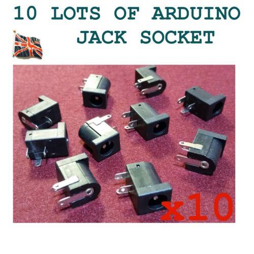 10 Lots ARDUINO PCB Socket Dc power jack CONNECTEUR 2.1 mm Angle Droit Pi RF