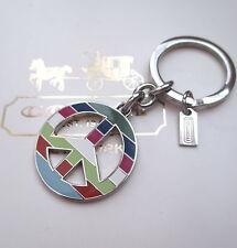 Coach Legacy Stripe Peace Sign Key Chain Fob Charm Keychain NEW