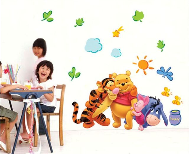 Winnie The Pooh Wall Decals Kids Bedroom Baby Nursery Stickers Art Decor Room L