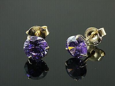333 Gold Ohrstecker 7,5 mm mit echten Amethysten 1Paar mit Zirkonia Steinen
