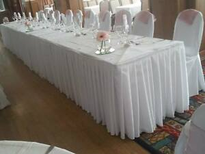 Pleated table skirt buffet polyester fabric wedding machine image is loading pleated table skirt buffet polyester fabric wedding machine watchthetrailerfo