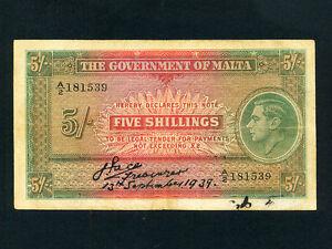 Malta:P-12,5 Shillings,1939 * King George VI * VF *