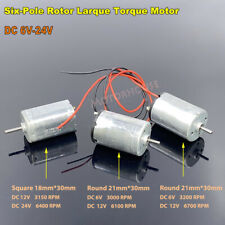 Dc 6v 24v 9v 12v Small Electric Motor 6 Pole Rotor Large Torque Diy Toy Car Boat