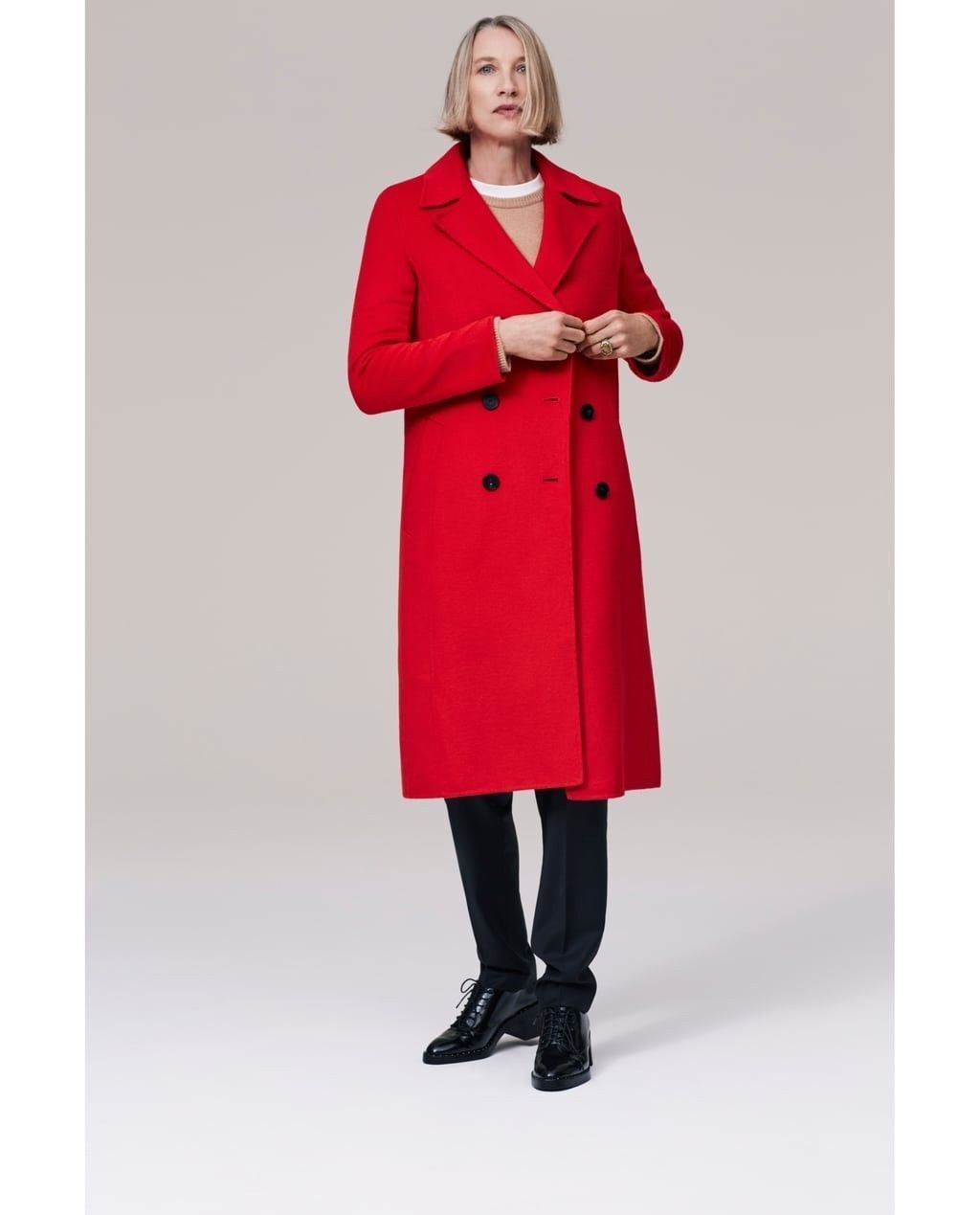 BNWT ZARA LONG CredVER COAT LAPEL COLLAR RED SIZE S REF.7522 247 BLOGGERS