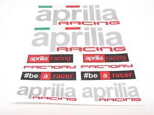 aprilia aufkleber bogen sticker set racing satz f r motorrad verkleidung 2a ebay. Black Bedroom Furniture Sets. Home Design Ideas