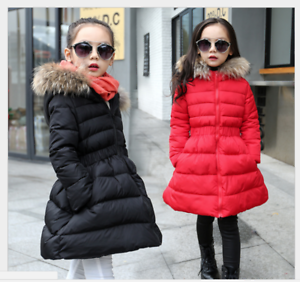 Winter-Girls-Down-Coat-Jacket-Hooded-Kids-Warm-Parka-Outwear-Snowsuit-Trench-New