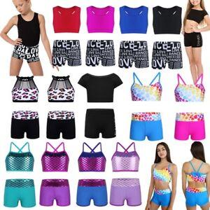 Kids-Tops-Girls-Crop-Top-and-Shorts-Tankini-Vest-Mermaid-Swim-Dance-Gym-Bra-Top