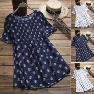 Women-Vintage-Retro-Pullover-Top-Tee-T-Shirt-Cotton-Polka-Dot-Flare-Tunic-Blouse