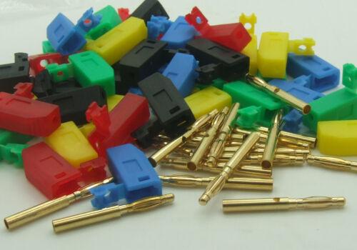 100PCS 5 Color Copper Gilded 2mm Banana Plug for Binding Post Test Probes Instru