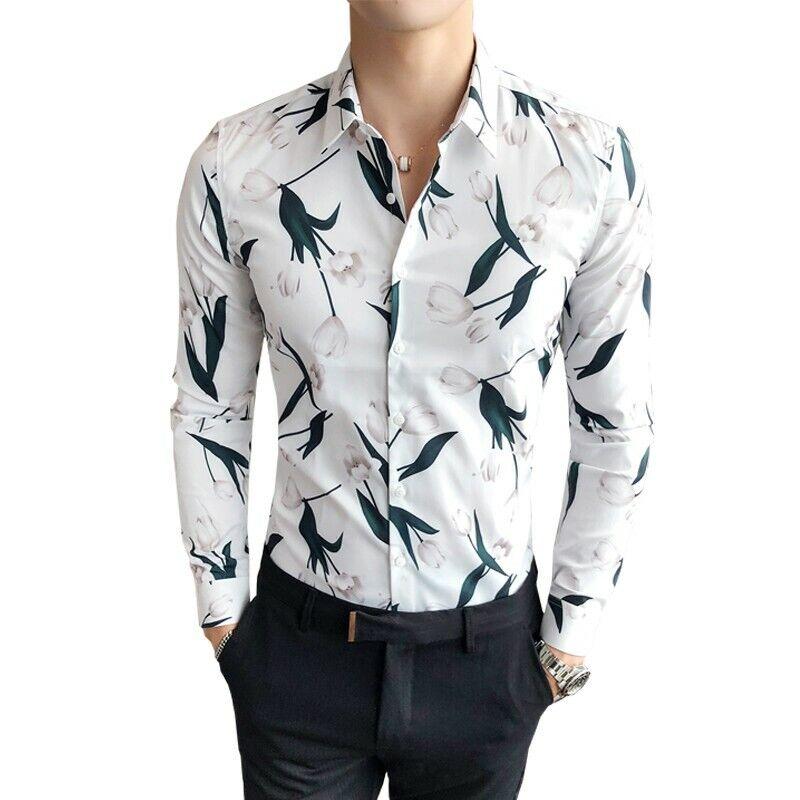 14b20b3e Mens Shirts Printed Casual Long Retro Korean Slim Fit New Lapel Floral  Sleeve otswue6075-Casual Shirts & Tops
