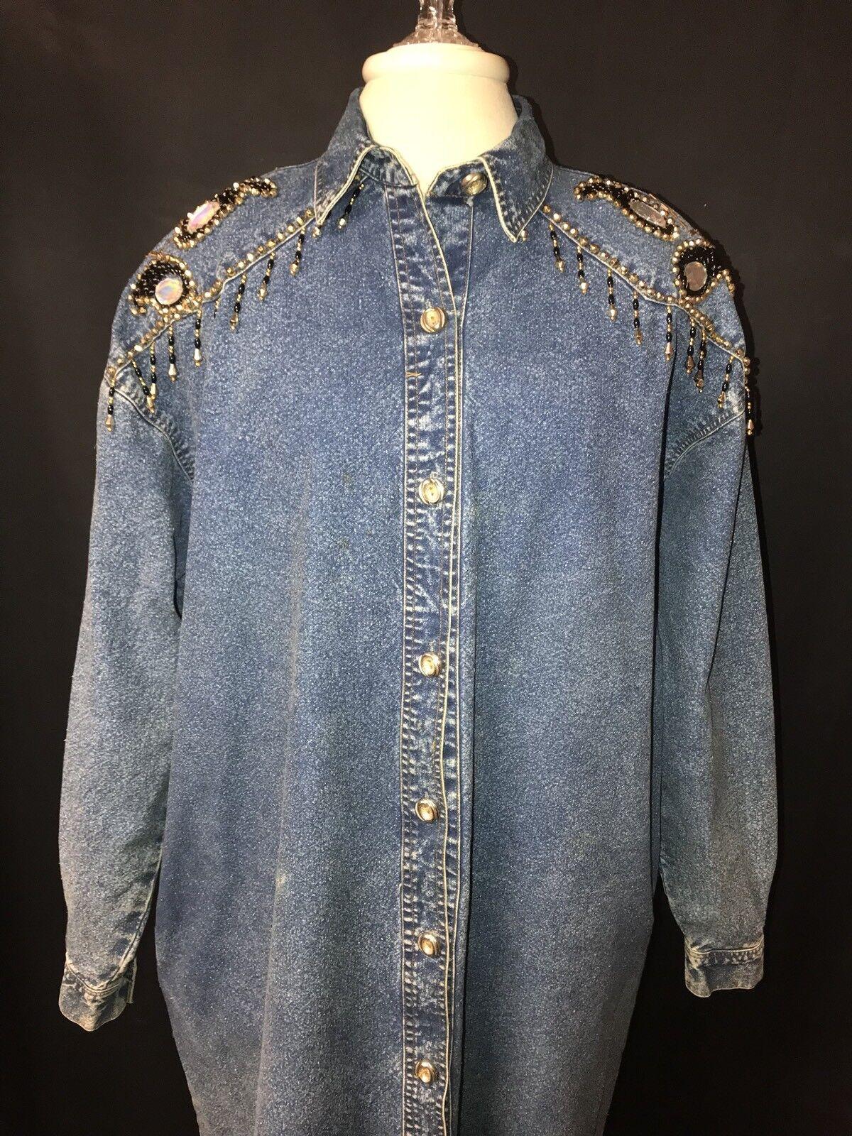 Vtg Tasty Denim Dress Coat Womens Sz.XL-Cotton-M. bluee Denim-Rhinestones beads