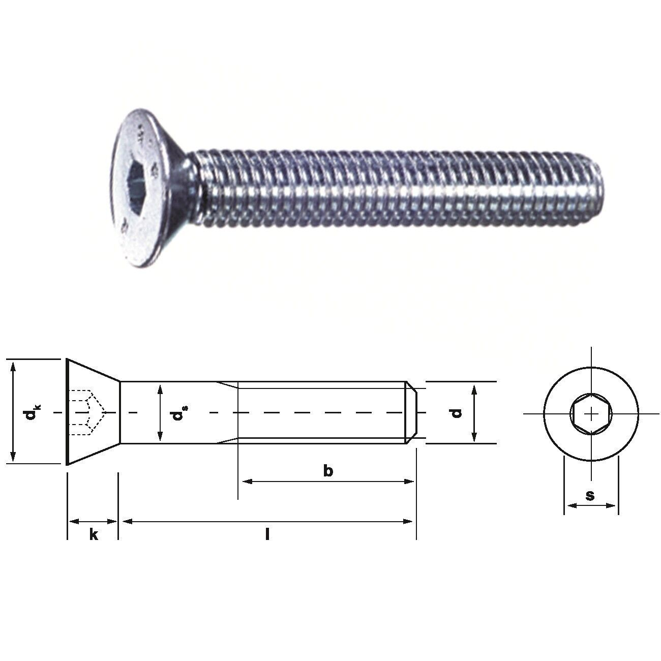 Senkkopfschraube mit Innensechskant 8.8 M 16 • M 20 DIN 7991 verzinkt