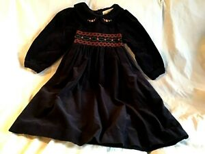 RARE-EDITIONS-Girl-039-s-Dress-Navy-Blue-Corduroy-Rosebuds-Smocked-Youth-Size-4-NWT