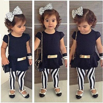 2015 Baby Kid Girl Summer Outfits Top T-shirt+Stripe Pants+Belt 3Pcs Set 2-11T