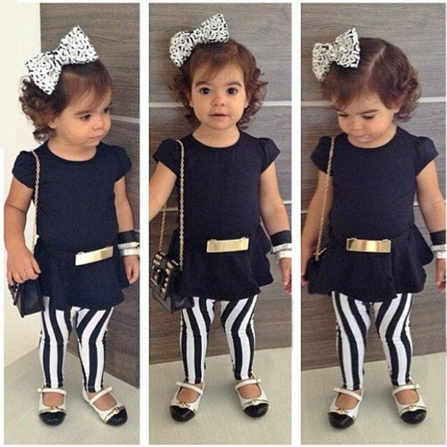 3Pcs Baby Kid Girl Outfits Short Sleeve Top T-shirt+Stripe Pants+Belt Set 2-11T