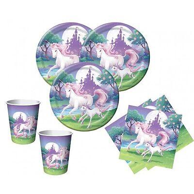 48 Teile rosa Einhorn Party Deko Basis Set zum Kindergeburtstag für 16 Kinder