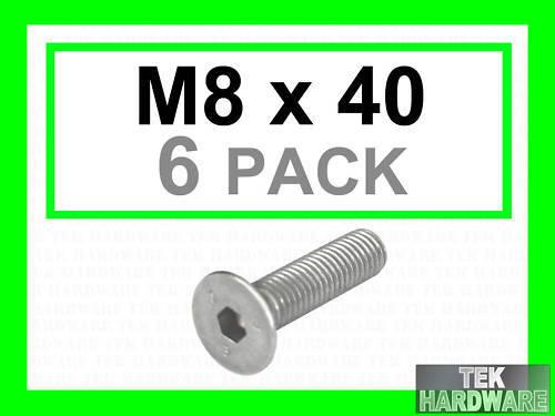 M8 x 40  6 Pk Stainless Steel Countersunk Allen Bolts Socket Caps