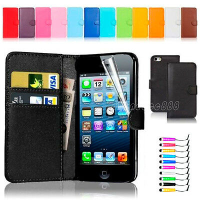For Apple iPhone 4 5 5S PU magnetic Leather slot wallet Cover stand Flip Case