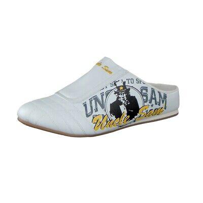 100% Vero Uncle Sam Sabots Sneaker Per Uomo In Bianco Con Stampa-mostra Il Titolo Originale Ultimi Design Diversificati