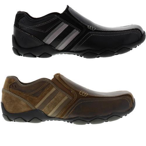 Skechers Diameter Zinroy Homme Noir en Cuir Marron À Enfiler Chaussures Taille UK 8-13