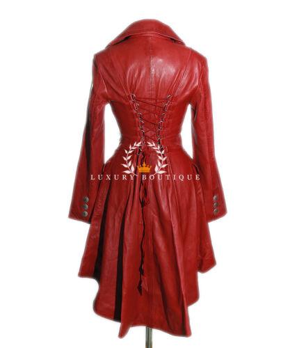 Valentina Rosso Donna Designer Militare Vera Pelle Di Agnello Pelle Stile Corsetto Coda Cappotto