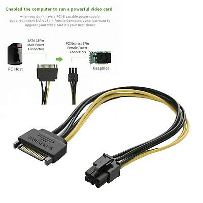 15pin SATA to 6pin PCI Express PCI-E Graphics Converter Cable
