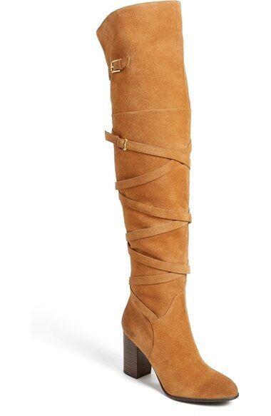 250 size 6 Sam Edelman Sable Caramel Pelle Over Knee Heel Donna Stivali NEW