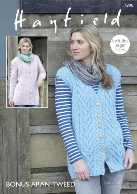 d8e2e078e98369 Sirdar 7990 Knitting Pattern Waistcoat and Jacket in Hayfield Bonus Aran  Tweed