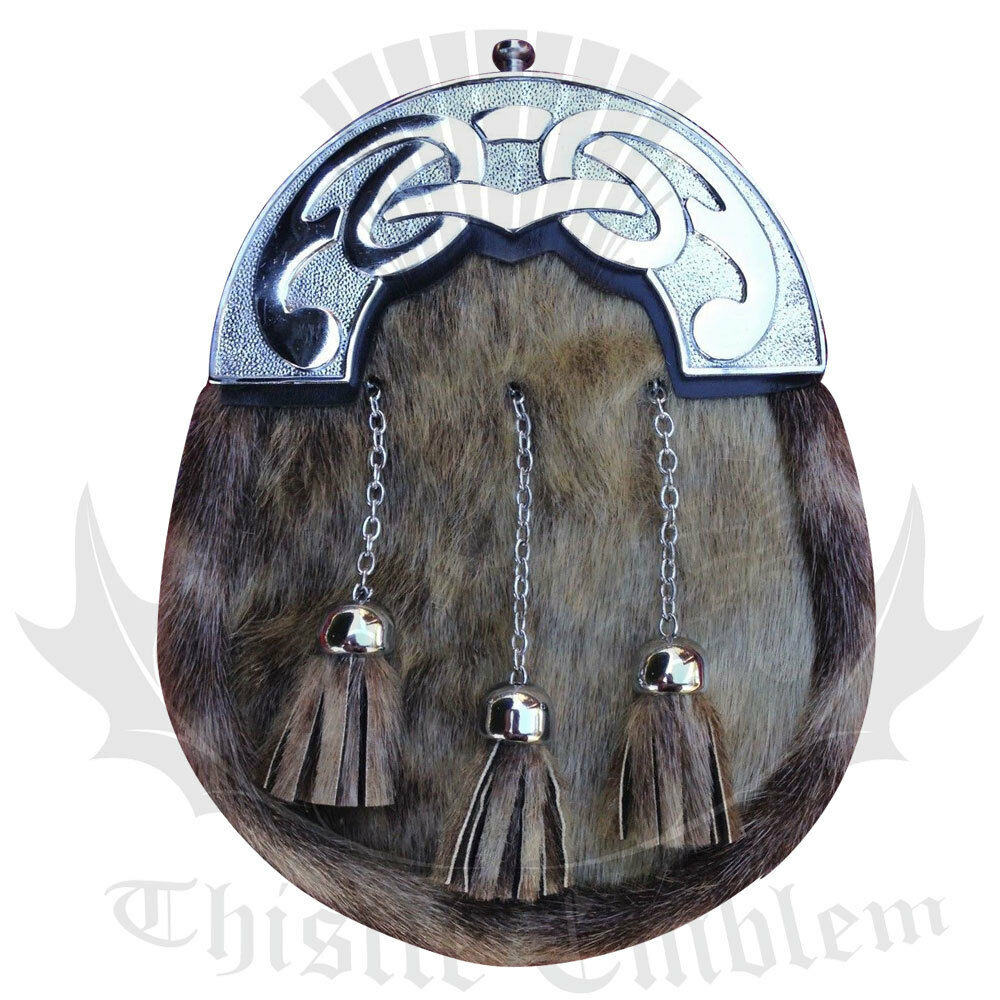 Hommes 's écossais Robe Cuir Kilt Sporran peau de phoque phoque phoque Celtique finition chrome chaîne 155737