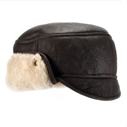 Da Uomo Marrone Scuro in Pelle Aviatore finito Pelle Di Pecora Trapper Hat accendere di nuovo