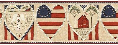Primitive Americana Folk Art Schoolhouse Angel Wallpaper Border SALE