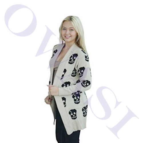 Womens skull face Print Halloween Boyfriend knitted open Front cardigan ladies