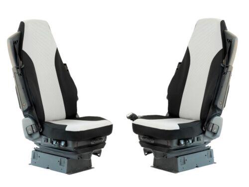 Tessuto Nero su Misura Coprisedili Volvo Trucks Fh 2 Coppia Premium Grigio