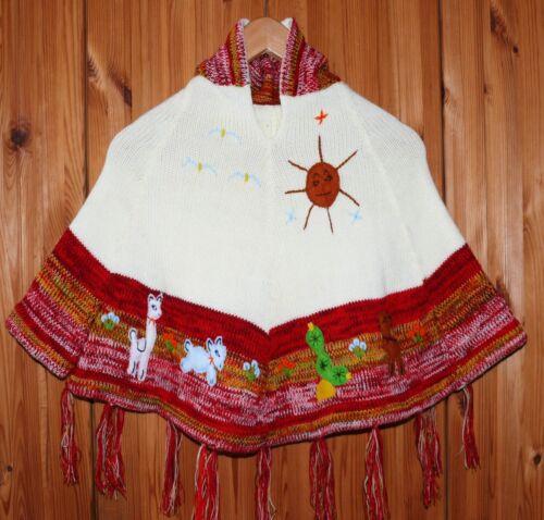 Poncho Tg. 98*104 BIANCO ROSSO N. 1, con maniche, Inka indiani Perù, XXL cappuccio estremità
