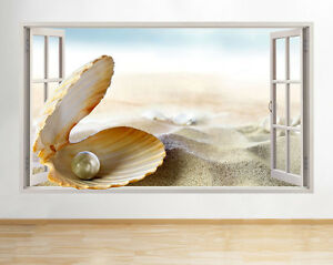 Wall STICKERS Perla Mare Shell Beach finestra del bagno decalcomania 3D ARTE Vinile Camera C533 							 							</span>